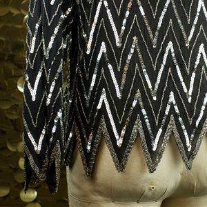 Metallic Ann Katrine Black + Silver L/S Sequin Dis